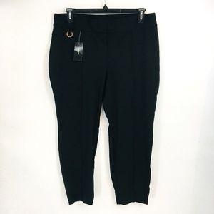 Alfani Skinny Ponte Pintuck Seam Black Dress Pants